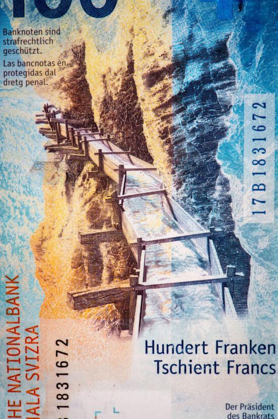 Die Rückseite der 100-Franken-Note