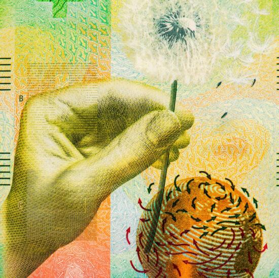 Die Vorderseite der 50-Franc-Banknote.